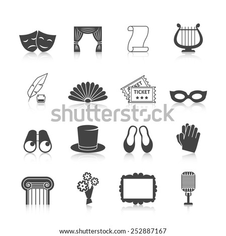 Theatre icon set black with mask curtain scroll harp isolated vector illustration - stock vector
