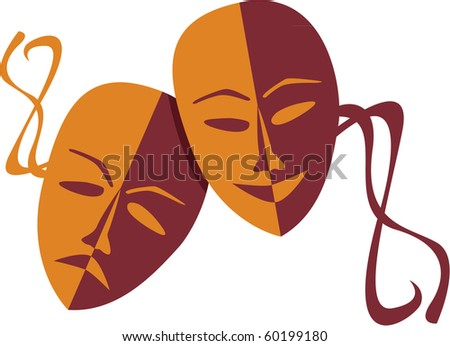 Theatre masks lucky sad - illustration - stock vector