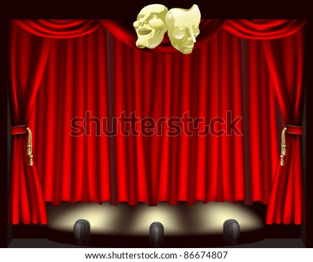 Theatre stage with curtains, footlights, and comedy and tragedy masks - stock vector