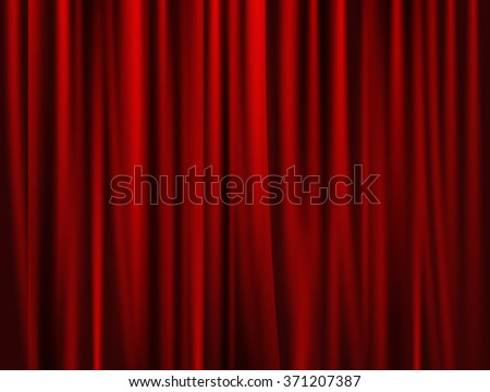 theatrical background. Red drape curtains. Cinema, theater, opera house. Vector - stock vector