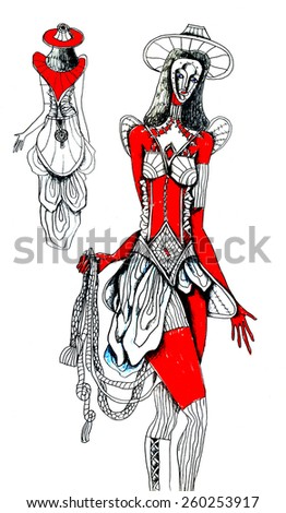 theatrical costume, woman in mask - stock vector