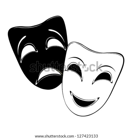 Theatrical mask on a white background. - stock vector