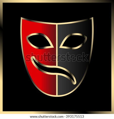 Theatrical mask. Stylized image. Tragicomedy and Carnival. - stock vector