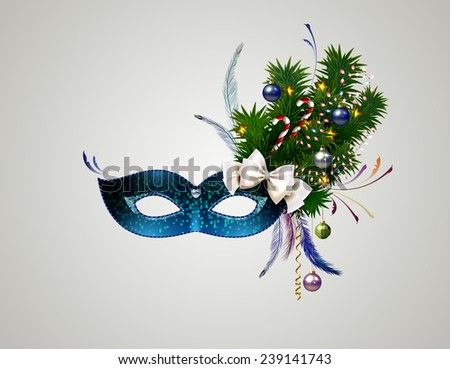 theatrical mask with christmas decorated branch - stock vector