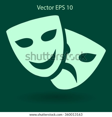 Theatrical masks laughter and crying vector illustration - stock vector