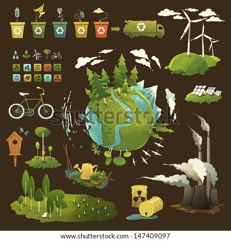 Thematic illustrations for environmental movement and environmental issues - stock vector