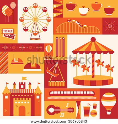 theme park of kids day - stock vector