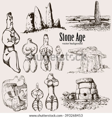 Theme set - the Stone Age. Megaliths and ancient artifacts. - stock vector