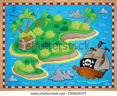 Theme with island and treasure 2 - vector illustration. - stock vector