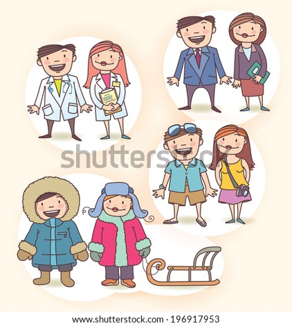 There are: the smiling doctor and his assistant, the businessman, businesswoman, the couple of happy tourists and the man with the woman wearing the winter clothes with the classic sledge.  - stock vector