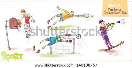 There are: the tall basketball player is performing a dunk, the tennis player with the racket, the soccer player (the goalkeeper) and the shooting funny biathlete. Enjoy! - stock vector