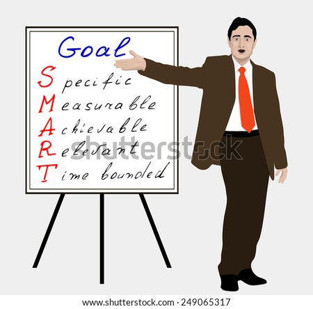 There can be any of your text. Manager points to the text on the flip chart. Achieving the goal. SMART. Coach training personnel. Leader, speaker, lecturer, salesman, boss infograph. Vector. Icon. - stock vector