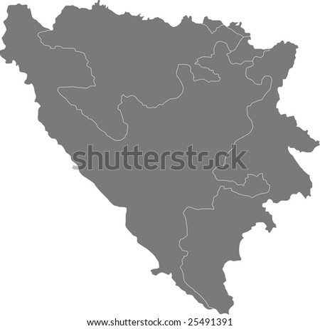 There is a map of Bosnia and Herzegovina country - stock vector