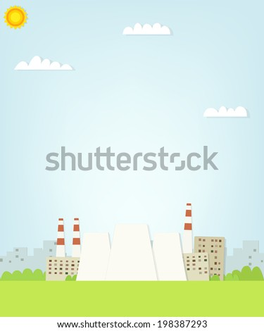 thermal power plant on the background of the city. flat paper il - stock vector