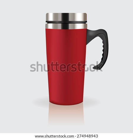 Thermo cup, travel mug, thermos isolated on white background. Vector illustration - stock vector