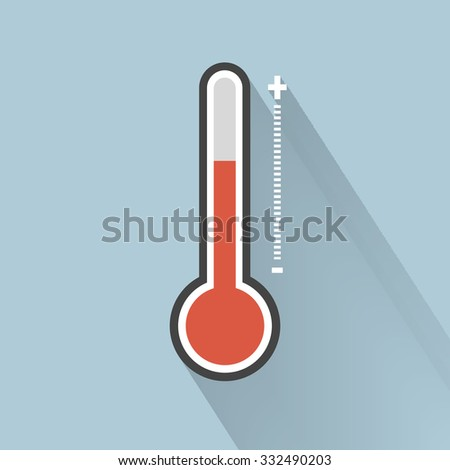 Thermometer icon , Flat design style, vector illustration. - stock vector