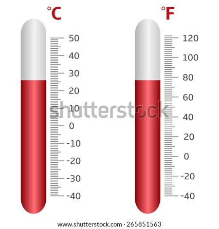 Thermometer icons. Celsius and Fahrenheit. Vector illustration. - stock vector