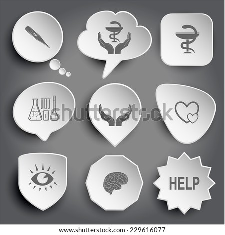 thermometer, pharma symbol in hands, chemical test tubes, human hands, careful heart, eye, brain, help. White vector buttons on gray. - stock vector