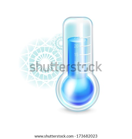 thermometer with snowflakes; cold concept isolated on white - stock vector