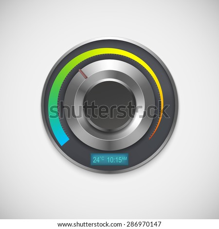 Thermostat with indicators Celsius, isolated on white background. Vector illustration - stock vector