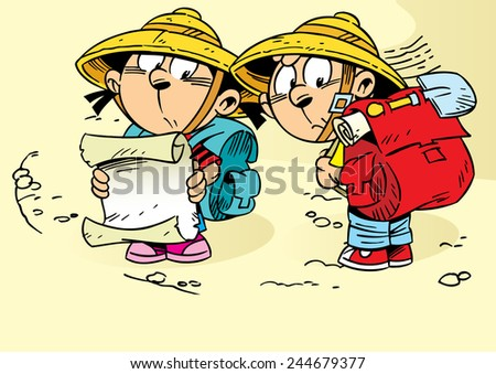 They go on an expedition for treasure. Girl holding in the hands a map, they have backpacks and shovel. This is an adventure in search of treasure for children during the summer holidays. - stock vector
