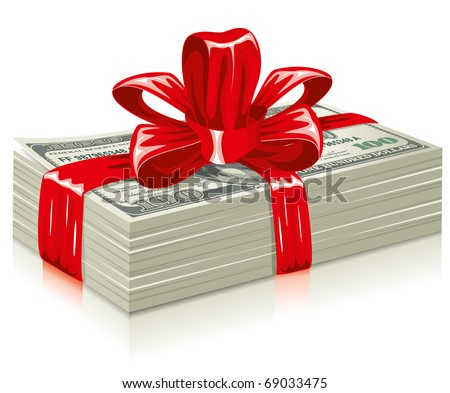 thick bundle of dollars, tied a red ribbon with a bow, the concept of success, vector editable - stock vector