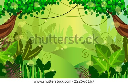 thickets in the jungle - stock vector
