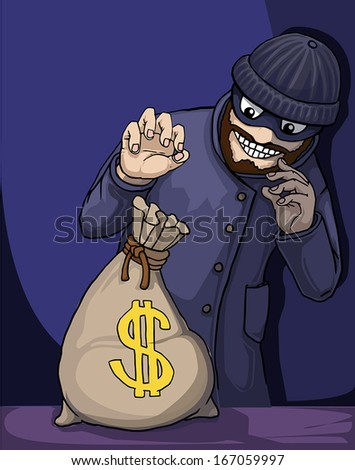 Thief about to steal a bag of money, vector illustration - stock vector
