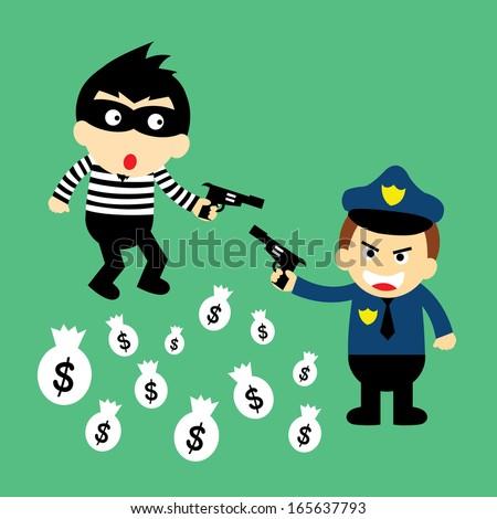 thief and policeman vector cartoon  - stock vector