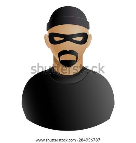 Thief avatar of criminal man in black mask and clothing with a beard and mustache icon isolated on white background. Vector illustration - stock vector