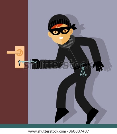 Thief character in steal action. Thief in mask trying to open the door lock in home - stock vector