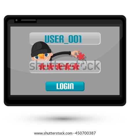 Thief Danger Technology Hacking Password Vector - stock vector