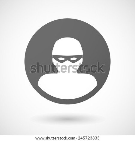 thief   icon with shadow on white background - stock vector