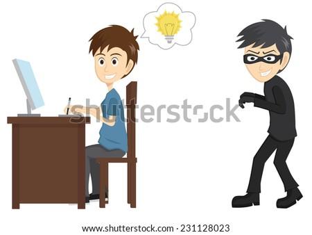 Thief Stealing Designer Idea - stock vector