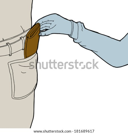 Thief stealing wallet from pocket on white background - stock vector