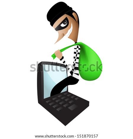 Thief Through the Internet - stock vector