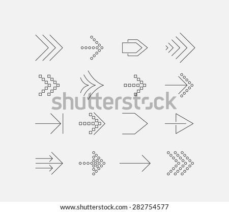 Thin arrow icon set - stock vector