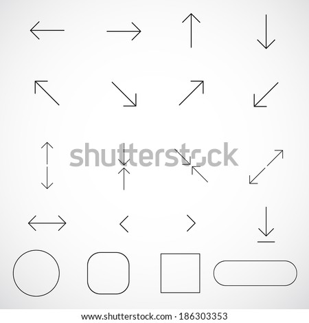 Thin arrows vector for design. Vector  illustration  - stock vector