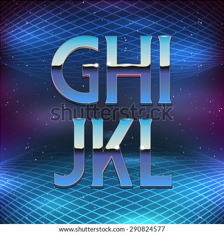 Thin Chrome Alphabet in 80s Retro Futurism style. Vector font from G to L - stock vector