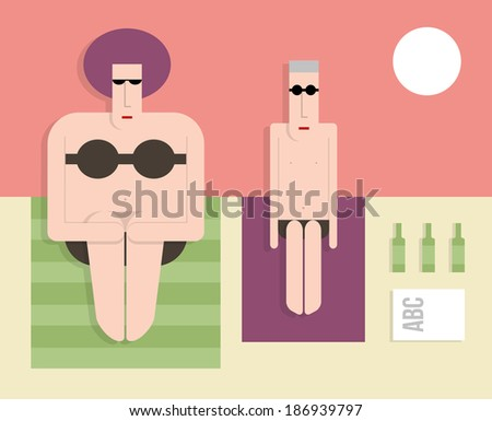 Thin husband with a fat wife on the beach, flat style, vector cartoon illustration - stock vector