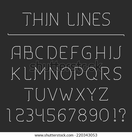 Thin Line Alphabet And Numbers