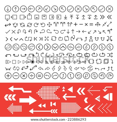 thin line arrow icons set  - stock vector