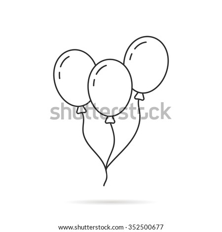 thin line balloon icon with shadow. concept of valentine day, recreational, recreation park item, festival, toy. isolated on white background. linear style trend modern logo design vector illustration - stock vector