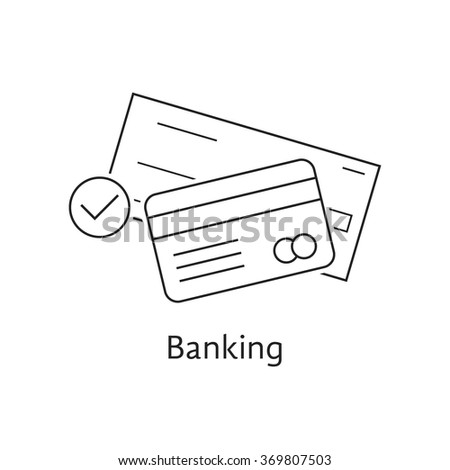 thin line bank check and credit card. concept of security, billing, debt, insurance, invest, receipt, virtual store. isolated on white background. linear style trend logo design vector illustration - stock vector
