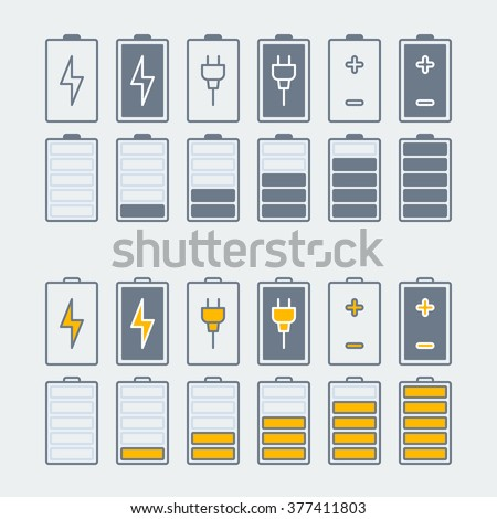 thin line battery charge indicator icons set. linear battery icons with lightning bolt sign. battery icons with rosette sign. isolated on grey background. vector illustration - stock vector