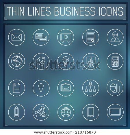 thin line business set icons concept. Vector illustration. Colorful template for you design, web and mobile applications. - stock vector