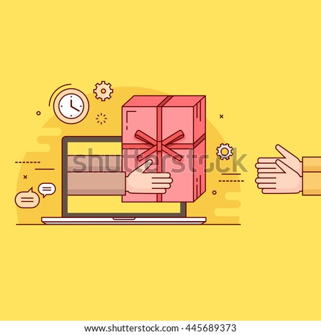 Thin line colorful vector illustration concept for gift delivery service, e-commerce, online shopping, receiving package from courier to customer isolated on bright background - stock vector