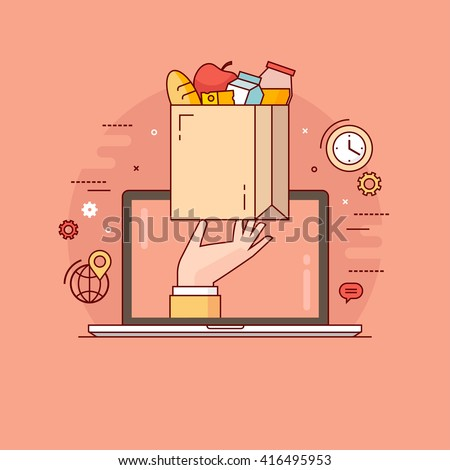Thin line colorful vector illustration concept for online ordering of food, grocery delivery, e-commerce isolated on bright background - stock vector