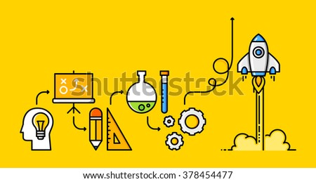 Thin line flat design about business project process. From idea to the launch, through the planning, design, test and production. - stock vector