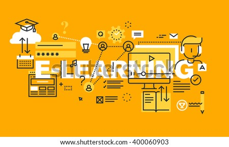 Thin line flat design banner for E-LEARNING web page, distance education, online training and courses. Modern vector illustration concept of word E-LEARNING for website and mobile website banners. - stock vector